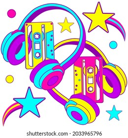 90s audio Seamless Pattern. Colorful Radio  Background Wallpaper with headphones, cassette.