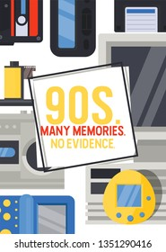 90s devices banner, poster vector illustration. Old technologies such as cassette, camera, floppy disk, mobile phone, joypad. Nostalgia for old years. Many memories. No evidence.