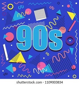 90s illistration with abstract retro design on blue background