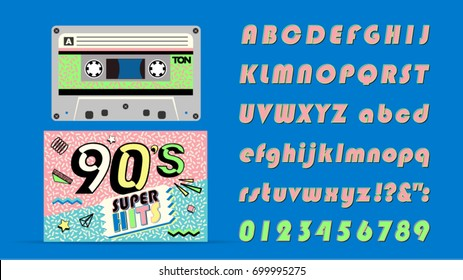 90's music mix. Super hits on audio cassette. Vintage retro font. Fashion, graphic background style.Dance party 1990, dance  night. Radio popular playlist. Easy editable for Your design.