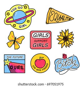 90s patches with feminism slogans. You go girl. The future is ours. Girls support girls. Eve was framed. Bitch sign with rose. 80s style pin design