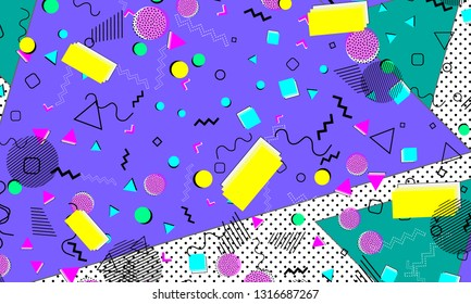 90s pattern. Geometric shapes background. Memphis pattern. Vector Illustration. Hipster style 80s-90s. Abstract colorful funky background.
