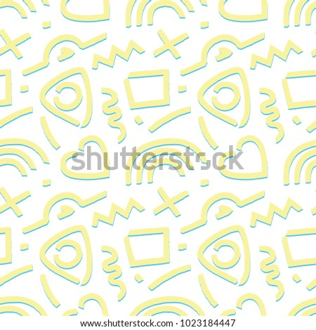 90 S Pattern Yellow Blue Stock Vector (Royalty Free) 1023184447