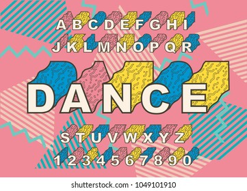 90's retro alphabet font. Vintage Alphabet vector 80's, 1990's Old style graphic poster set. Eighties style graphic template. Template easy editable for Your design. 80s neon style,vintage dance night