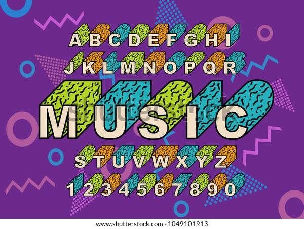 90s Retro Alphabet Font Vintage Alphabet Stock Vector