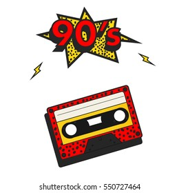 90'S style with yellow numbers and cassette tape