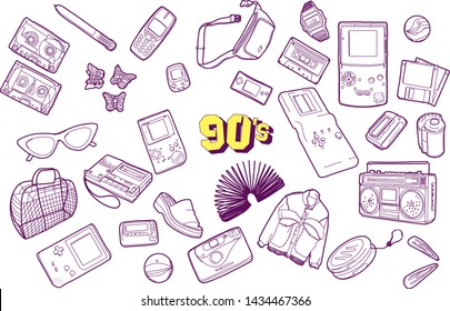 90s vector illustration. outline minimalistic set of nostalgia for 90s. illustration with isolated gadgets, cassettes, accessories, clothes on a white background