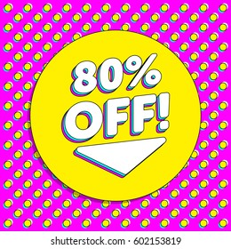 90's Vintage Flyer Discount Sale Off Background Badge Geometric