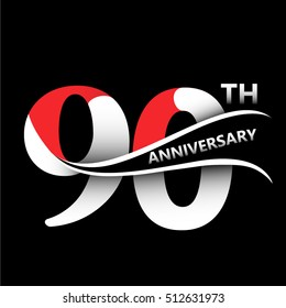 90th anniversary celebration logo and sign vector and  illustration