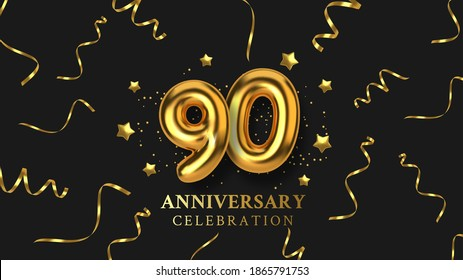 90th Anniversary celebration. Number in the form of golden balloons. Realistic 3d gold numbers and sparkling confetti, serpentine. Horizontal template for Birthday or wedding event. Vector