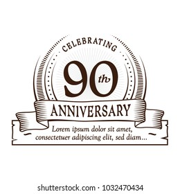 90th anniversary design template. Vector and illustration.