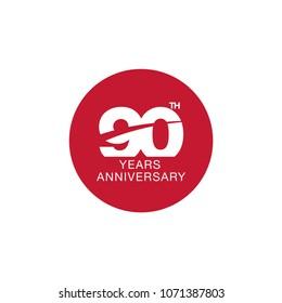 90th anniversary emblem. Ninety years anniversary celebration symbol