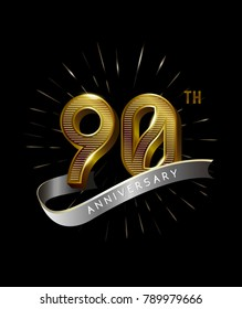 90th Anniversary fireworks and ahiny ribbon. gold anniversary logo on black background
