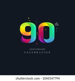 90th Anniversary Logo Design, Number or Digit 90 Icon Vector Template.