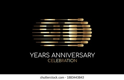 90th anniversary logo formed by parallel lines of different weights in gold and silver for a celebration. Vector