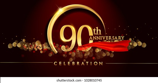 90th anniversary logo with golden ring, confetti and red ribbon isolated on elegant black background, sparkle, vector design for greeting card and invitation card