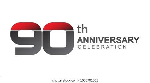 90th anniversary logo red and black design simple isolated on white background for anniversary celebration.