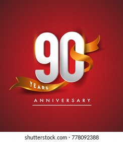 90th anniversary logotype with golden ribbon isolated on red elegance background, vector design for birthday celebration, greeting card and invitation card.