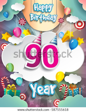 90th Birthday Celebration Greeting Card Design With Clouds And Balloons Vector Elements For The