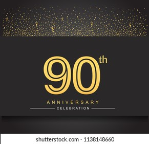 90th golden anniversary celebration logotype with confetti golden color isolated on black background, vector design for greeting card and invitation card