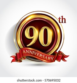 90th golden anniversary logo, ninety years birthday celebration with ring and red ribbon isolated on white background