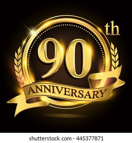 90th golden anniversary logo with ring and ribbon, laurel wreath vector design.