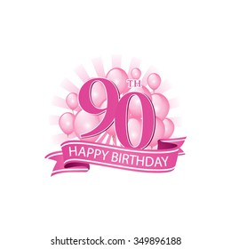 90th pink happy birthday logo with balloons and burst of light