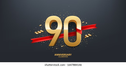 90th Year anniversary celebration background. 3D Golden number wrapped with red ribbon and confetti on black background.