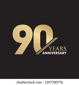 90th Year anniversary emblem logo design inspiration vector template