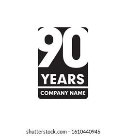 90th year anniversary emblem logo design vector template