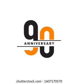 90th year celebrating anniversary logo design template