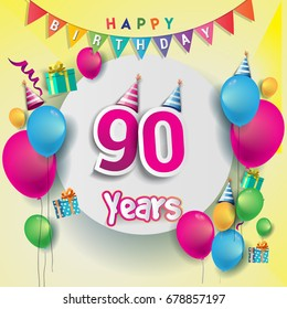 90th Years Anniversary Celebration Birthday Card Or Greeting Design With Gift Box And Balloons