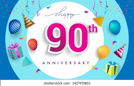 90th Years Anniversary Celebration Design, with gift box and balloons, ribbon, Colorful Vector template elements for your birthday celebrating party.