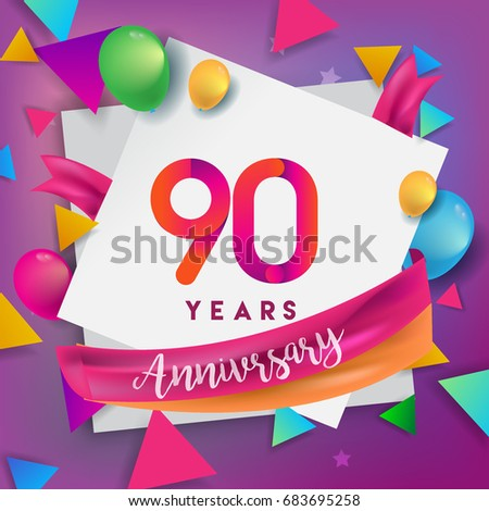 90th Years Anniversary Celebration Design Balloons And Ribbon Colorful Elements For Banner