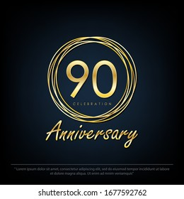 90th years anniversary celebration emblem. elegance golden anniversary logo with rings on black background, vector illustration template design for web, flyers, greeting card & invitation card