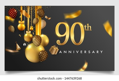 90th years anniversary design for greeting cards and invitation, with balloon, confetti and gift box, elegant design with gold and dark color, design template for birthday celebration.