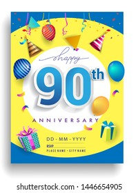 90th Years Anniversary invitation Design, with gift box and balloons, ribbon, Colorful Vector template elements for birthday celebration party.