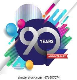 90th years Anniversary logo with colorful abstract background, vector design template elements for invitation card and poster your birthday celebration