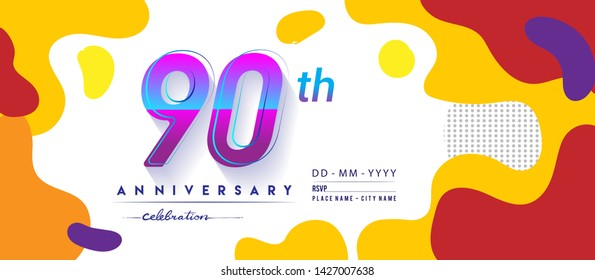 90th years anniversary logo, vector design birthday celebration with colorful geometric background and circles shape.