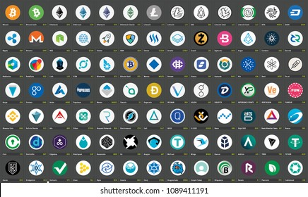 91 Vector color logos of cryptocurrency coins ICOs and tokens