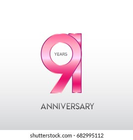 91 years pink anniversary. with overlapping number. for business, corporate, wedding, love, valentine logo celebration