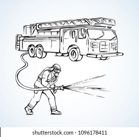 911 aid auto and hero male person on white street backdrop. Line red ink hand drawn save gear sign icon symbol sketch in modern art doodle cartoon graphic silhouette style pen on paper space for text