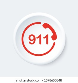 911 button. Emergency phone symbol. White and red icon.