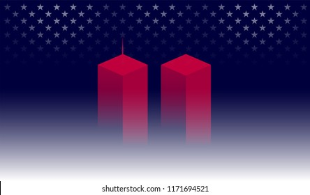 9/11 Memorial background with red Twin Towers, New York. Dark blue background w/ shining stars for 9//11 Remembrance Day USA vector