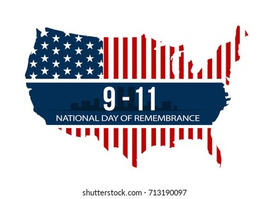 9/11 National Day of Remembrance, September 11, 2001. Vector illustration