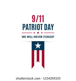 9/11 Patriot Day banner. USA Patriot Day card. September 11, 2001. We will never forget you. Vector design template for Patriot Day.