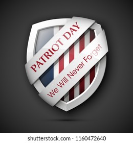 9/11 Patriot Day Poster Template, National holiday in the United States, September 11 in memory. We will never forget. America Shield with Flag Background. illustration for Patriot Day 9.11