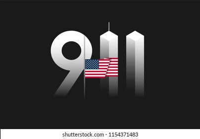 9/11 Patriot Day, September 11 vector illustration with the flag of the United States flown at half-staff, 911 twin towers art on black background