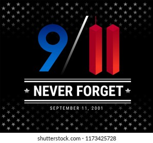9/11 Patriot Day, September 11th, We Will Never Forget. 9/11 Memorial vector illustration with stars on black background