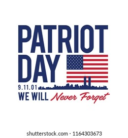 9.11 Patriot Day with USA flag illustration and typography